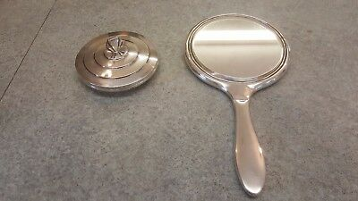 Vintage antique solid silver mirror and make-up case set with mirror