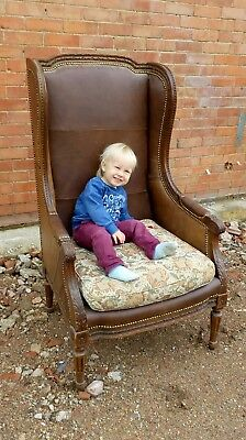antique leather wing back arm chair carved wood edwardian