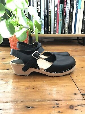 Lotta From Stockholm Low Wood Black Leather Clogs UK6 39 Made In Sweden