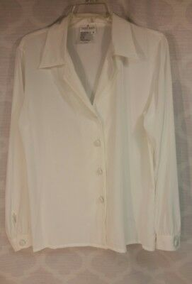Carry Back vintage polyester Ivory disco size 8 women's shirt button-up blouse