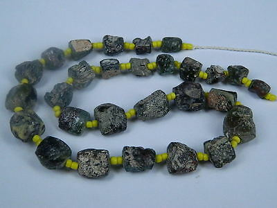 Ancient Fragment Glass Beads Strand Roman 200 BC  NO RESERVE   #ML1128