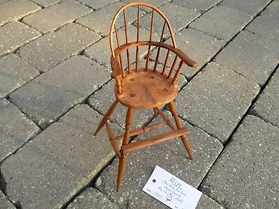 "1993 Hand Carved Solid Wood Windsor High Chair LaMar Ruhl 10"" Tall"