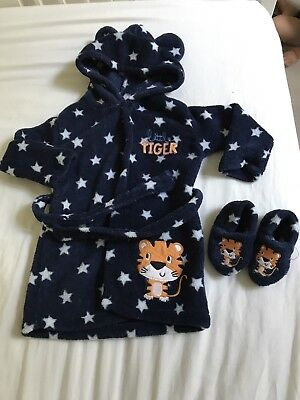 Boys Dressing Gown With Slippers 18-24 Months