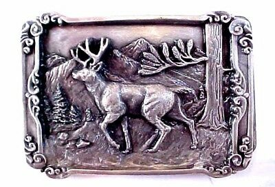 Vintage 1984 Siskiyou Pewter Belt Buckle Raised Buck Deer w/ Rack Awesome Piece
