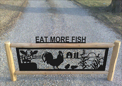 Farm Sign With Cows-Chickens-Roosters