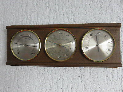 Alte Wand Holz Messing Wetter Station Thermometer Barometer Hydrometer Vintage