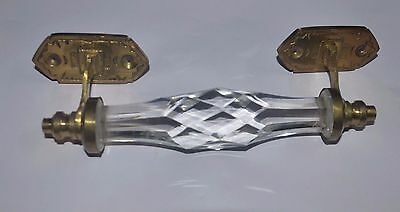 2 Pc Vintage Unique Shape Fine Cut Glass & Brass Victorian Door Handle