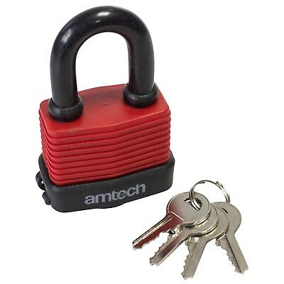50mm Weatherproof Padlock - 4 Keys Security Amtech Garage Set 3 Padlocks 40mm