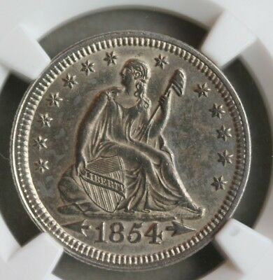 1854 Arrows Seated Liberty Quarter NGC MS-61