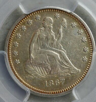 1867 Seated Liberty Quarter PCGS XF-45