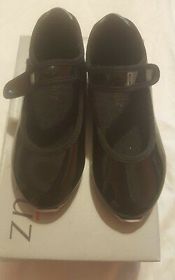 Toddler Girl Black Patent Leather Velcro Tap Shoes size 8.5 M by Danshuz