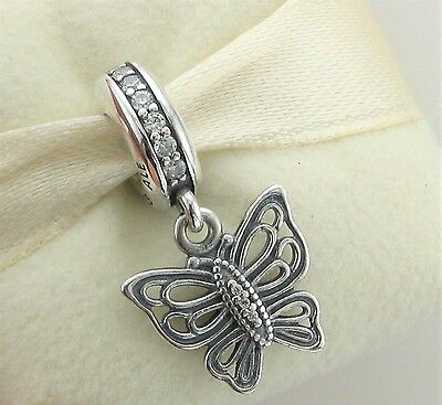 Genuine Silver Vintage Butterfly Pandora Bracelet Pendant Charm + Gift Pouch