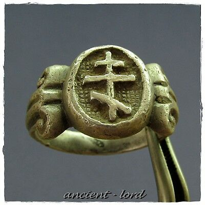 ** CROSS **, excellent ANCIENT Silver BYZANTINE Ring !