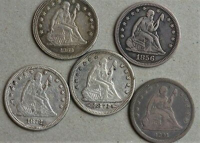 5 Liberty Seated Quarters 1862 1856 1841-O 1872 1873 Arrows