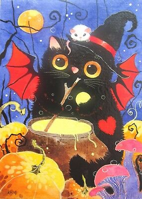 ACEO ORIGINAL WATERCOLOR painting BLACK CAT & MOUSE halloween night moon art red
