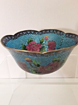 Vintage Plique A Jour Chinese Bowl with Tag on Base