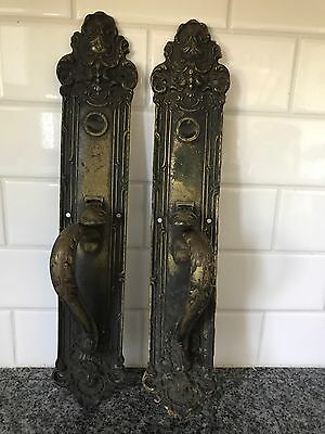 Large Escutcheon Plate Right Left Brass Door Knob Ornate Yale Handles