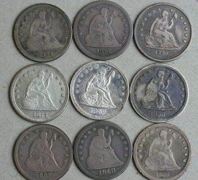 9 Seated Quarters 1860 1840-O 1876-S 1876 1858 1858 1857 1848 1877-CC