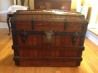 Antique Vintage Wooden Trunk 1875 Old Treasure Chest