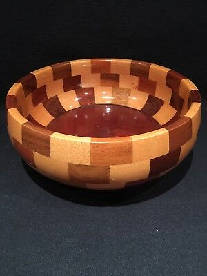 Vintage Mixed Wood Marquetry Large Bowl Cambridge Ware Warm hygge Perfect