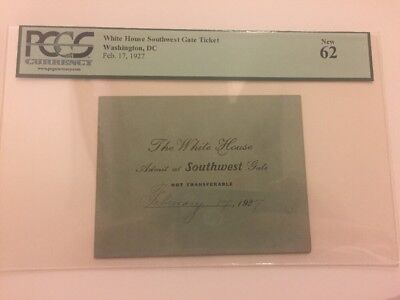 1927 President Calvin Coolidge White House Visit Meeting Ticket Pass PCGS 62