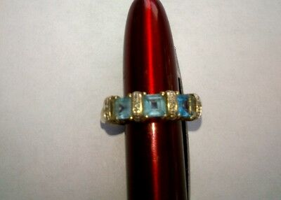 9 ct Yelle Gold Topaz & Diamond Trilogy Ring. No Reserve.
