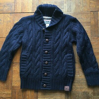 Notting Hill Boys Sz 5 Cable Knit Sweater Navy Blue Brown Buttons Elbow Patches