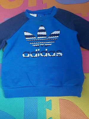 baby boys infant adidas jumper 18-24 months blue grey