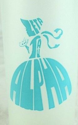 "1950's Vintage Zeta Tau Alpha 6"" Tall Drinking Glass Lovely Girl Blue Frosted"