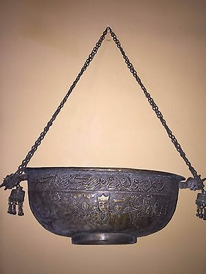 Rare Persian  Huge Size  Brass Islamic Kashkul Arabic Calligraphy