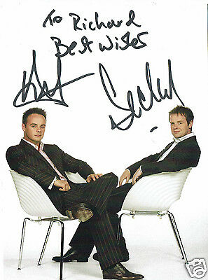 Ant & Dec Television Presenters Hand Signed Photograph 8 x 6