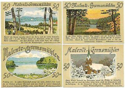 **1921 MALENTE-GREMSMUHLEN Germany- FOUR SEASONS ~ Complete Set German Notgeld