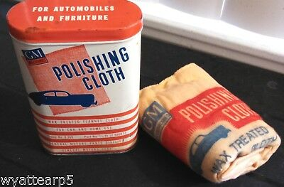 Vintage 1940's GM Polishing Cloth & Tin Can General Motors Corp No. 986077