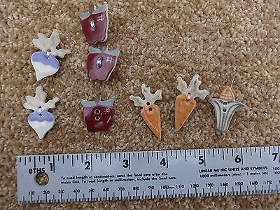 Lot of Eight two-hole Ceramic Buttons - Carrots Corn Apples some with Pins -Used