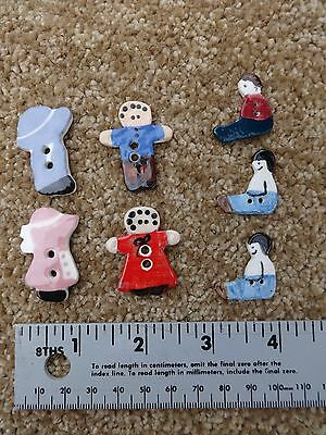 Lot of Seven two-hole Ceramic Buttons - Sunbonnet Sue, Gingerbread man/gal