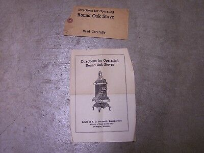 1915 Operating Directions Round Oak Cast Iron Wood Stove mfg. by P.D. Beckwith
