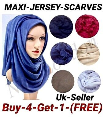 Top Quality Jersey Hijab Stretchy Big  Plain Lycra Maxi Scarf Shawl Wrap Uk P&p