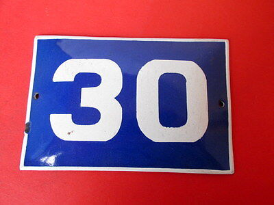 Vintage Door House Blue Porcelain Enamel Number 30  Tin Sign Plate