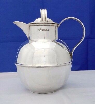 Vintage Silver Plate Modernist Design Lidded 1 Pint Hot Water or Milk Jug VGC