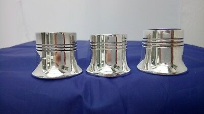 3 Vintage Silver Plate Open Mustard Pots with Cobalt Blue Glass Liners