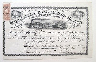 Minehill & Schuylkill Haven Railroad Stock Certificate 1866 R48