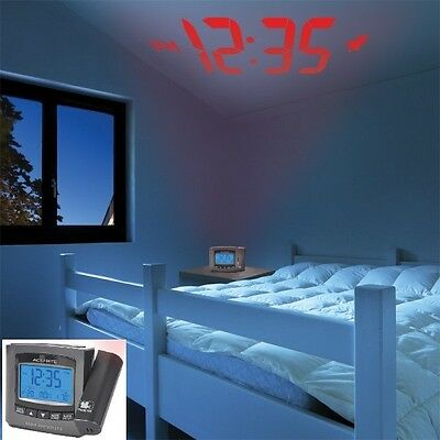 AcuRite Projection Alarm Clock with Atomic Time & Temperature Authentic, Sealed