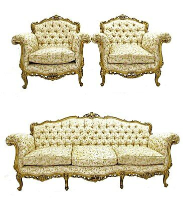 French Giltwood Suite (Sofa +Armchairs)
