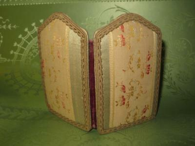 Divine French 19th C Silk Covered Folding Picture Frame.