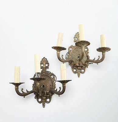 Antique Pair Wall Sconce Electric Candle Light Fixture