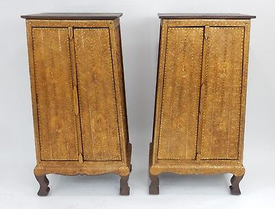 Gorgeous Pair of Thai Teak gilt wood with Stones and mirror Cabinets 50.5 inches