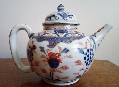 ANTIQUE CHINESE EXPORT PORCELAIN GLOBULAR IMARI TEAPOT, 18th C, QING DYNASTY