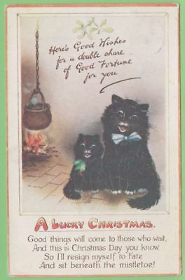 CHRISTMAS postcard with LUCKY BLACK CAT & MISTLETOE - TUCK published