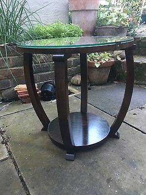 Vintage Art Deco Glass Topped Occasional Table