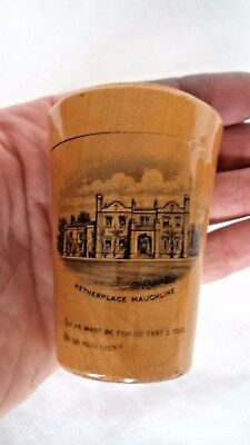 VICTORIAN c1900 SCOTTISH MAUCHLINE WARE WHISKEY CUP CASE BURNS NETHERPLACE